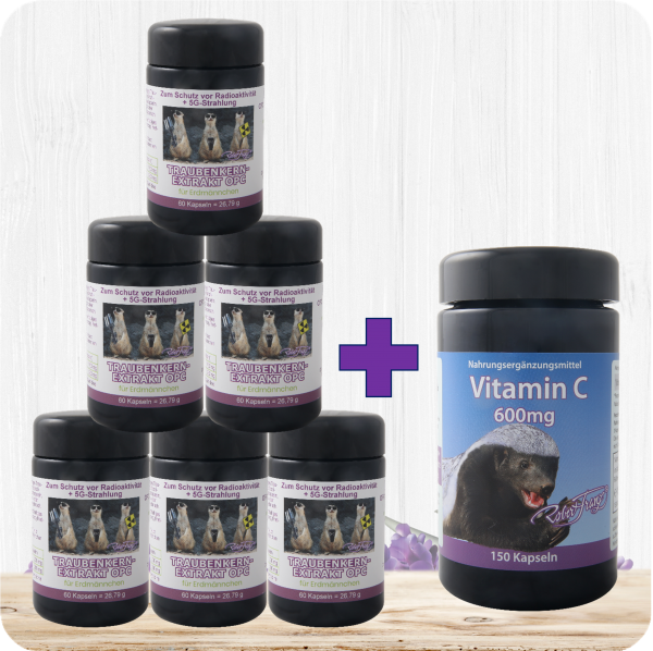 6er Set OPC40 Traubenkernextrakt für Erdmännchen+ 1x GRATIS Vitamin C 600mg
